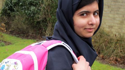 """Malala Yousafzai returns to school for the first time at Edgbaston High School for Girls in Birmingham, England, on March 19, 2012. The 15-year-old said she had """"achieved her dream."""""""
