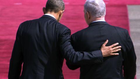 Israeli Prime Minister Benjamin Netanyahu greets Obama at Israel's Ben Gurion Airport on March 20.