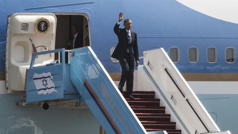 Obama arrives at Ben Gurion Airport near Tel Aviv, Israel, on March 20.