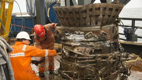 """The thrust chamber and fuel manifold, pulled out of the ocean. """"Each piece we bring on deck conjures for me the thousands of engineers who worked together back then to do what for all time had been thought surely impossible,"""" Bezos wrote."""