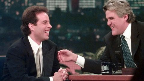 """Jay Leno starred in """"The Tonight Show with Jay Leno"""" from 1992 to 2009 and then moved to his own prime-time show, """"The Jay Leno Show,"""" on NBC. After a public controversy over scheduling changes while Conan O'Brien hosted the show in 2009, Leno returned to host """"The Tonight Show"""" in 2010. Here, Leno jokes with Jerry Seinfeld in 1998."""