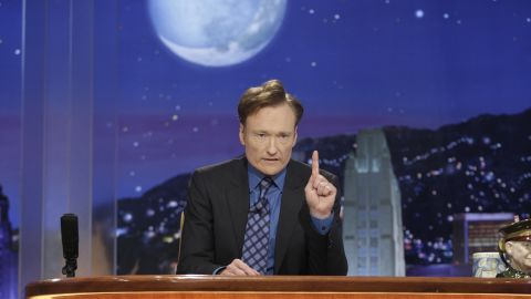 """Conan O'Brien hosted the show for seven months and left after NBC announced that it would be moving his show to after midnight and Leno's prime-time show to """"The Tonight Show's"""" time slot. Here, O'Brien on his final show on January 22, 2010."""