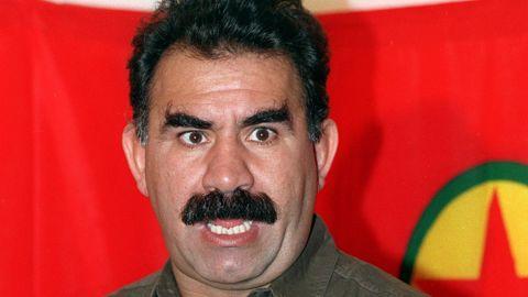Kurdish rebel chief Abdullah Ocalan in Masnaa on the Lebanon-Syria border on 28 September 1993.