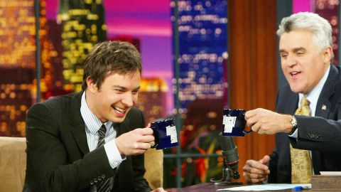 BURBANK, CA - SEPTEMBER 22: Actor Jimmy Fallon (L) appears on 'The Tonight Show with Jay Leno' at the NBC Studios on September 22, 2004 in Burbank, California. (Photo by Kevin Winter/Getty Images)