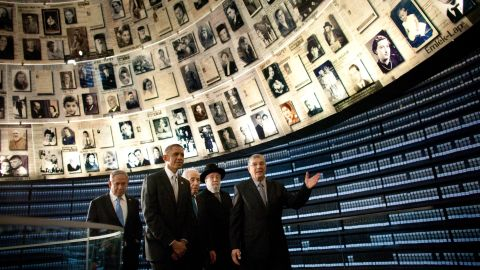 President Barack Obama visits the Hall of Names at the Yad Vashem Holocaust memorial with Israeli Prime Minister Benjamin Netanyahu, left, Israeli President Shimon Peres, center, Rabbi Yisrael Meir Lau and Avner Shalev, the museum's director, on Friday, March 22, in Jerusalem.  As part of his Mideast tour, Obama wrapped up his first trip to Israel as president and arrived in Jordan, another key ally, on Friday.
