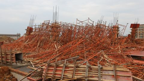 A tornado leaves scaffolding in tatters on Wednesday, March 20, in Daoxian, China.