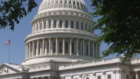 An American flag flies at the U.S. Capitol building.
