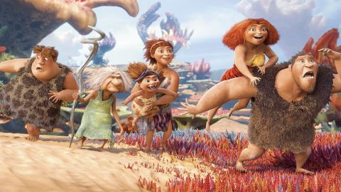 """Thunk, Gran, Sandy the baby, Ugga, Eep and Grug from """"The Croods."""""""