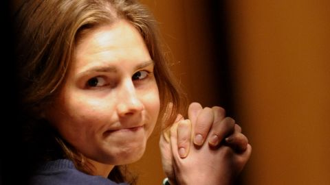 This file picture taken on March 12, 2011 shows US Amanda Knox takes place in court before the start of a session of her appeal trial in Perugia's courthouse. talian prosecutors on February 14, 2012 lodged an appeal against the acquittal of US student Amanda Knox, accusing her of murdering her British housemate Meredith Kercher in the university town of Perugia in 2007. AFP PHOTO/ FILES / TIZIANA FABI (Photo credit should read TIZIANA FABI/AFP/Getty Images)