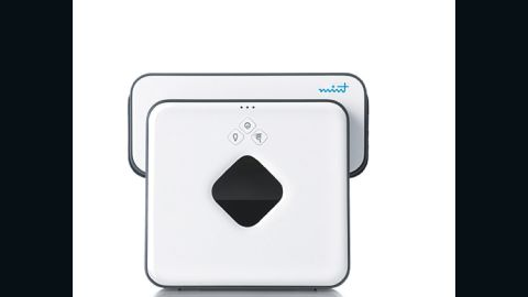"""The robot vacuum has a new cousin—the Mint 4200 Automatic Floor Cleaner is a wet mop and a duster. And, yes, a robot, too! Set on """"sweep,"""" it moves back and forth in neat lines, catching dust and dander. In """"mop"""" mode, it uses its own wet cleaning cloths (or disposable cloths from most big-name brands) to make floors shiny and fresh. Flat and small enough to zip under furniture and into tight spaces (measuring only 3.1 inches high), it uses GPS-like technology to map its path and built-in sensors to avoid stairs and area rugs. When it's all done, it returns to its starting spot. And it's super-quiet, so it won't terrify the cat."""
