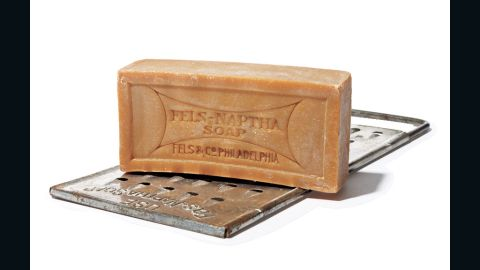 """In 1893 the Fels soap company added naphtha, a kind of solvent, to their formula to create a much loved product that thrives to this day. Use it to pretreat oily (or otherwise tough) stains, like chocolate, makeup, baby formula, and ring around the collar. """"Wet the bar, rub on, let sit for a few minutes, and wash as usual,"""" says Steve Boorstein, the author of """"The Clothing Doctor's 99 Secrets to Cleaning and Clothing Care."""""""