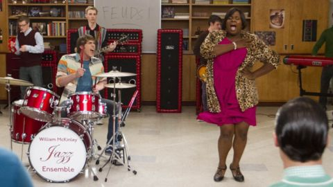"""""""Glee"""" introduced its first transgendered teen character in 2012. """"Unique,"""" right is played by Alex Newell."""