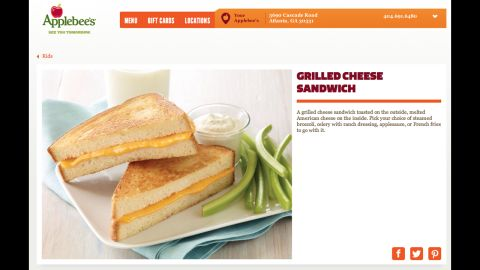 Applebee's grilled cheese on sourdough with french fries and 2% chocolate milk has 1,210 calories with 62 grams of total fat (46% of calories), 21 grams of saturated fat (16%) and 2,340 milligrams of sodium. That meal has nearly three times as many calories, and three times as much sodium, as the Center for Science in the Public Interest's criteria allow. A better option would be the grilled chicken sandwich meal for kids with steamed broccoli and apple or grape juice, totaling only 355 calories.