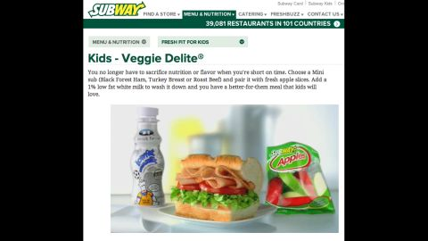Subway kids' roast beef sub, apple slices and 1% milk comes in at 395 calories. All eight of Subway's Fresh Fit for Kids meal combinations met the center's nutrition criteria.