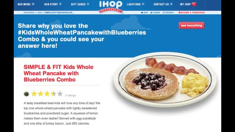International House of Pancakes' whole-wheat blueberry pancakes are another healthy option, at 260 calories.