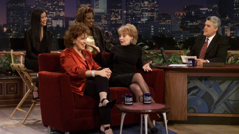 """The women of """"The View"""" became stars in their own right. Lisa Ling, Star Jones, Joy Behar and Walters appeared with Jay Leno on """"The Tonight Show."""""""