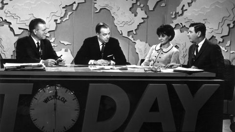 """Jack Lescoulie, Hugh Downs, Walters and Frank Blair conduct a discussion on NBC's """"Today Show"""" in New York.  She worked for the show from 1961 to 1976."""