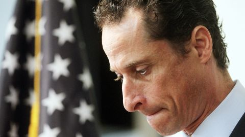 NEW YORK, NY - JUNE 16:  U.S. Rep. Anthony Weiner (D-NY) announces his resignation June 16, 2011 in the Brooklyn borough of New York City. The resignation comes ten days after the congressman admitted to sending lewd photos of himself on Twitter to multiple women.  (Photo by Mario Tama/Getty Images)