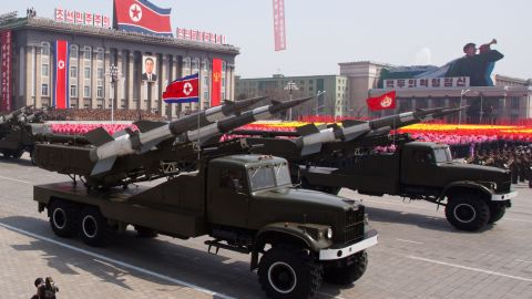 SA-3 ground-to-air missiles are displayed during a parade in 2012.