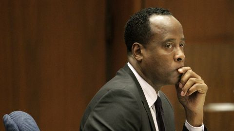 Dr. Conrad Murray sits in a courtroom during his involuntary manslaughter trial on October 21, 2011 in downtown Los Angeles, California.  Murray faces four years in prison and the loss of his medical license if convicted of involuntary manslaughter in Michael Jackson's death.