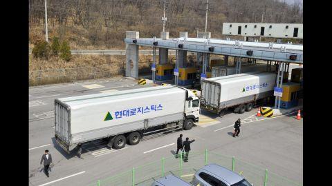 South Korean trucks turn back.