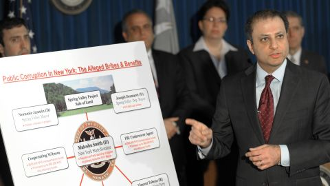U.S. District Attorney Preet Bharara lays out  federal corruption charges against New York State Sen. Malcolm Smith and others.
