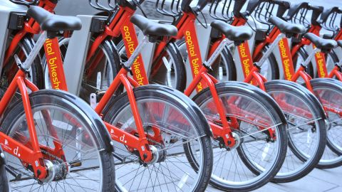"""Bicycle sharing services like <a href=""""http://www.capitalbikeshare.com/"""" target=""""_blank"""" target=""""_blank"""">Capital Bikeshare</a> in Washington allow short-term rentals."""