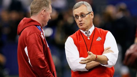 Jim Tressel is seen on the sidelines while still coach at Ohio State University in May 2011.