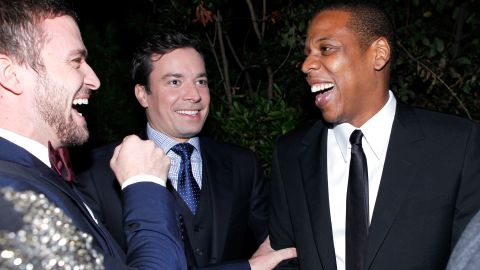 From left, Timberlake, Fallon and Jay-Z attend GQ's 2011 Men of the Year Party at the Chateau Marmont in Los Angeles in November 2011.