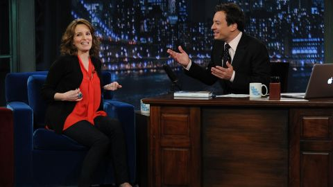 """Tina Fey appears on """"Late Night with Jimmy Fallon"""" at Rockefeller Center in May 2011. The two were on """"Saturday Night Live"""" together in earlier years."""