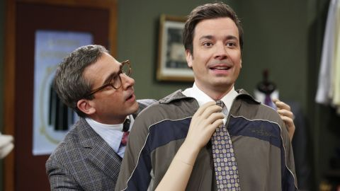 """Fallon with """"Late Night"""" guest Steve Carell in March."""