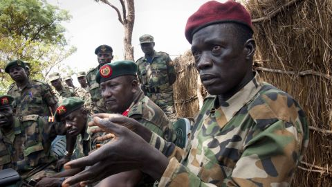 Ceasar Acellam, a senior member of the Lord's Resistance Army, at the Ugandan army base in Djema on May 13, 2012.