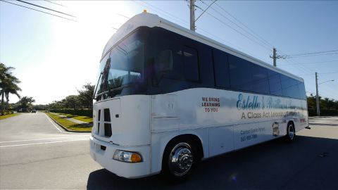Estella's Brilliant Bus travels to schools, shelters and community centers throughout  Palm Beach County, Florida.