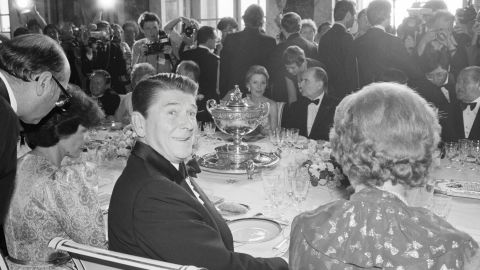 Thatcher, right, and Reagan at the summit of the seven industrialized powers at Versailles in Paris in 1982.