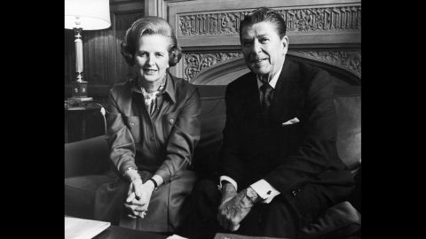 """Former world leaders Margaret Thatcher and Ronald Reagan met many times as partners in diplomacy and policy-making and developed a public friendship. """"We have lost a great president, a great American and a great man. And I have lost a dear friend,"""" Thatcher said at Reagan's funeral in 2004. Here, the two at the House of Commons in London on November 28, 1978."""