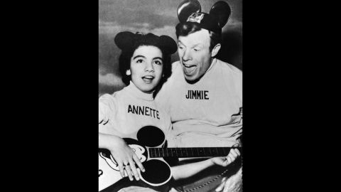 """Funicello and Jimmie Dodd promote """"The Micky Mouse Club"""" in 1957. Walt Disney selected Funicello to be on the popular children's show when she was 12."""