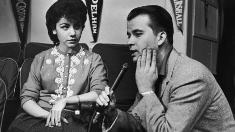 """'""""American Bandstand"""" host Dick Clark interviews Funicello in the mid-1950s. With a background in dance, she quickly became one of the most popular Mouseketeers.<br />"""