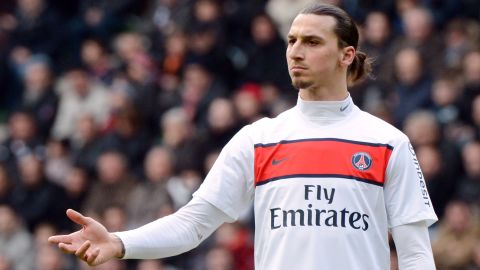 Paris Saint-Germain's Swedish forward Zlatan Ibrahimovic gestures during the French L1 football match Rennes vs Paris Saint-Germain on April 6, 2013 at the route de Lorient stadium in Rennes, western France. AFP PHOTO / DAMIEN MEYER (Photo credit should read DAMIEN MEYER/AFP/Getty Images)