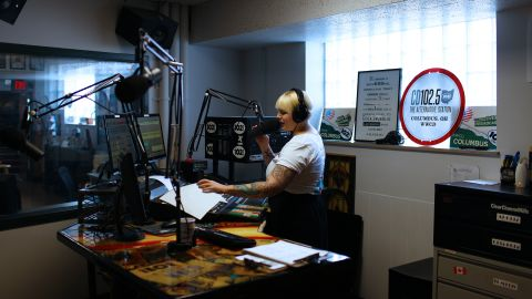 """Radio host Rachael Gordon talks on-air from the CD102.5 studios in Columbus, Ohio. <a href=""""http://cd1025.com/"""" target=""""_blank"""" target=""""_blank"""">WWCD-FM</a> is a rarity in today's world of radio, an independently operated and locally owned commercial music station."""