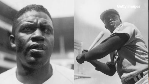 American baseball player Jackie Robinson (1919 - 1972) during his time with the Brooklyn Dodgers 1949(L), 1950 (R).