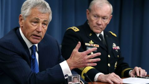ARLINGTON, VA - APRIL 10: U.S. Defense Secretary Chuck Hagel (L), and Chairman of the Joint Chiefs of Staff Gen. Martin Dempsey talk about the Defense Department's FY2014 budget request during a briefing at the Pentagon, April 10, 2013 in Arlington, Virginia. Hagel also spoke about the ongoing situation with North Korea. (Photo by Mark Wilson/Getty Images)