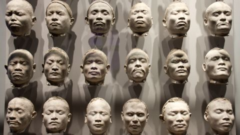 """Disturbing periods of Dutch history are also acknowledged. These facial casts of Nias Islanders, made by anthropologist J.P. Kleiweg de Zwaan as part of his studies of racial """"types"""" are displayed alongside a concentration camp uniform and a chess set given as a gift by Nazi Heinrich Himmler."""
