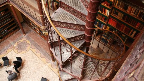 """Another highlight of the """"new"""" museum is its ornate four-story library, complete with vertiginous spiral staircase, which has never been open to the public before."""