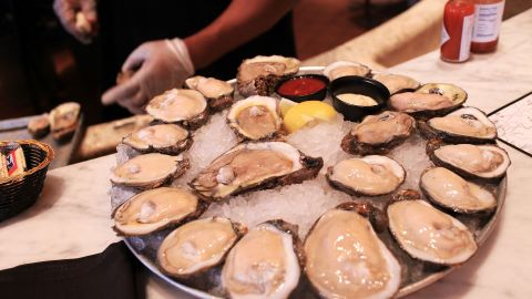 NEW ORLEANS - JUNE 09: Louisiana oysters from area 7 at the Bourbon House restaurant on June 9, 2010 in New Orleans, Louisiana. Restaurants like the Bourbon House in the heart of the French Quarter are still serving fresh oysters daily. Due to the ongoing oil spill, a third of the Gulf of Mexico has been shut-down by federal officials to fishing with over 100 miles of coastal oyster beds also closed. (Photo by Spencer Platt/Getty Images)