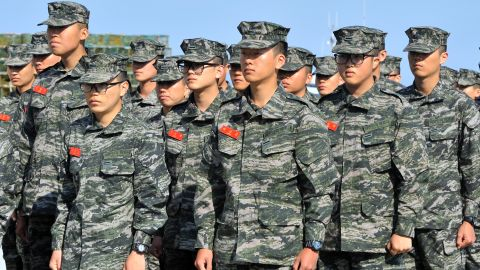 South Korean marines stand in rows after arriving at the South Korea-controlled island of Yeonpyeong near the disputed waters of the Yellow Sea on Friday, April 12.
