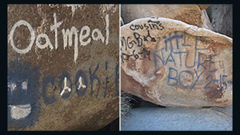 Graffiti on boulders at Joshua Tree National Park.