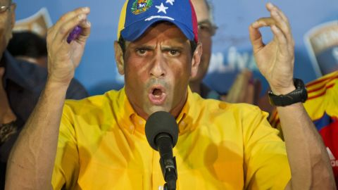 Venezuelan presidential candidate Henrique Capriles speaks during a press conference in Caracas on April 15, 2013. Venezuelans on Sunday awaited the results of the election to replace late leader Hugo Chavez, with his handpicked political heir favored to win, as the opposition candidate warned of vote manipulation. AFP PHOTO/RONALDO SCHEMIDT (Photo credit should read Ronaldo Schemidt/AFP/Getty Images)