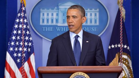 Obama gives a statement on the Boston Marathon explosions on April 15, from the White House.