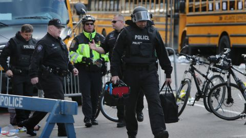 BOSTON - APRIL 15: The Cambridge Police department's bomb squad was at the intersection of Arlington and Boylston Streets, where they investigated unattended personal items left behind after two explosions went off near the finish line of the 117th Boston Marathon on April 15, 2013. (Photo by Barry Chin/The Boston Globe via Getty Images)