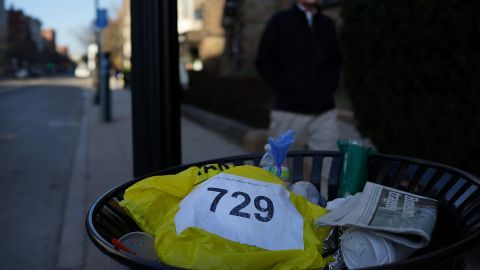 """A runners bib lies discarded April 16. <a href=""""http://www.cnn.com/SPECIALS/us/boston-bombings-galleries/index.html"""">See all photography related to the Boston bombings.</a>v"""